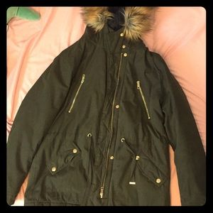 Utility jacket with faux fur hood